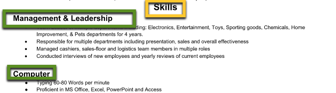 screenshot of skills section resume