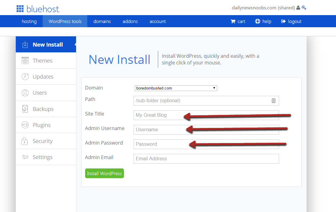 installing wordpress on bluehost
